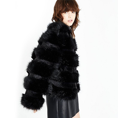 Black Fur Coat New Look